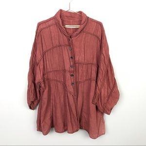 Cynthia Ashby Oversized Linen Button Down Med